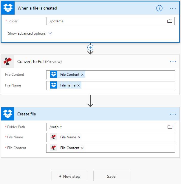 Create flows using the PDF4me Connectors