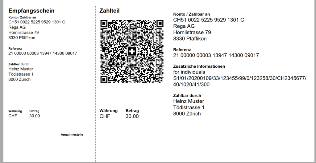 Swiss QR-bill unstructured message, billing info and amount