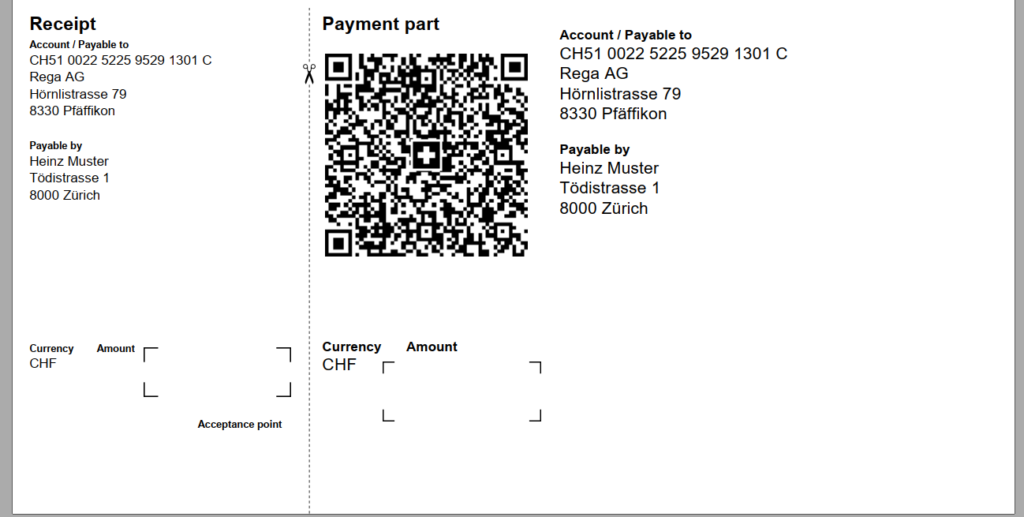 Swiss QR-bill open amount and scissor line