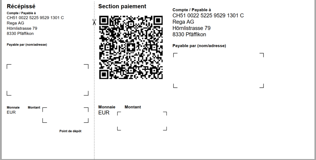 Swiss QR-bill, no payable by, EUR