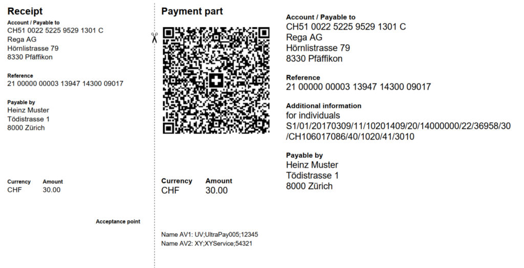 Swiss QR-bill all fields